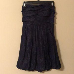 Navy Blue Strapless Ruffle Homecoming Dress